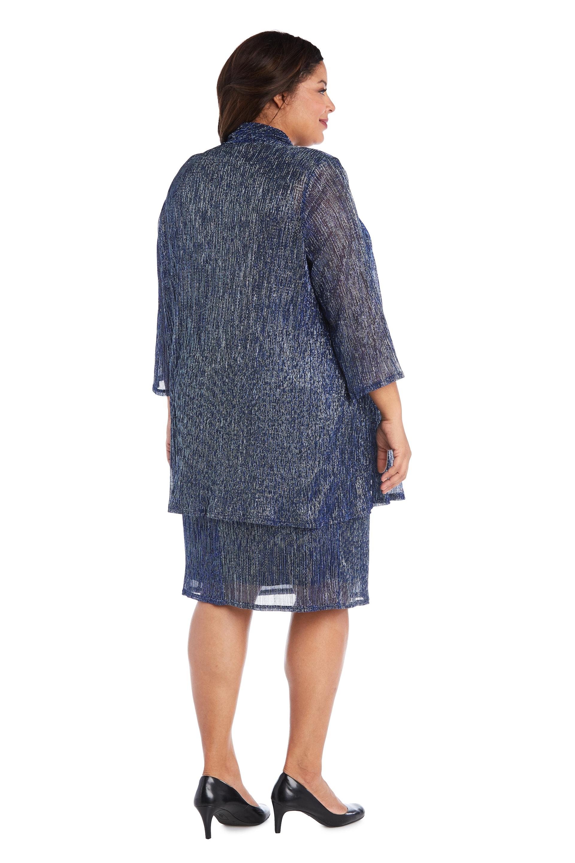 2pc Flyaway Metallic Jacket Dress - Plus - Blue - Back