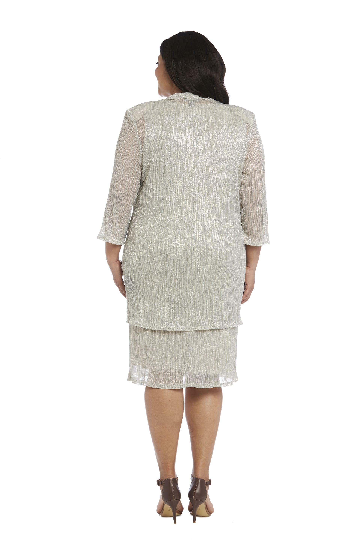 2pc Flyaway Metallic Jacket Dress - Plus - champagne - Back