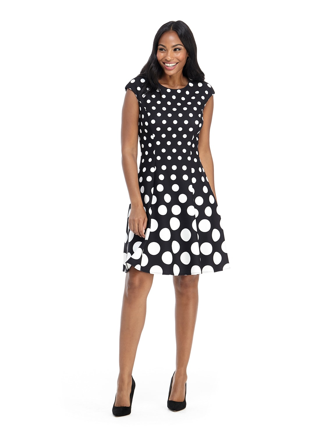 Cap Sleeve Graduated Dot Dress - Black/White - Front