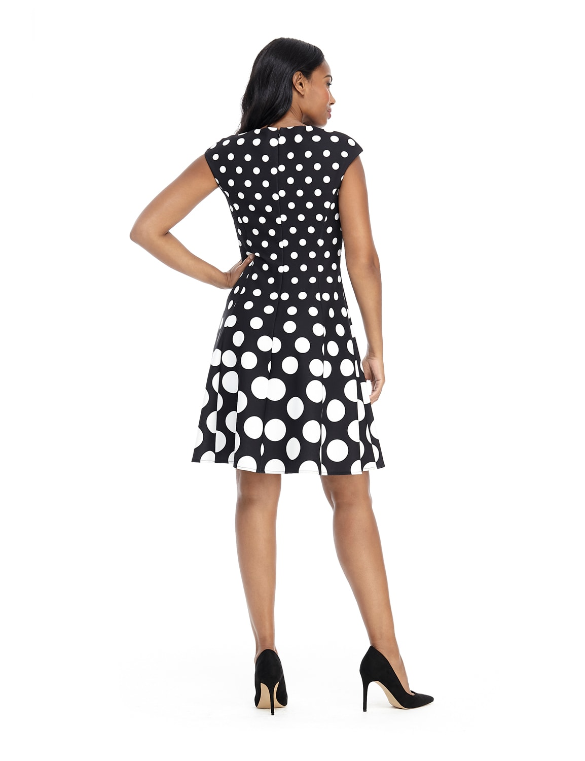 Cap Sleeve Graduated Dot Dress - Black/White - Back