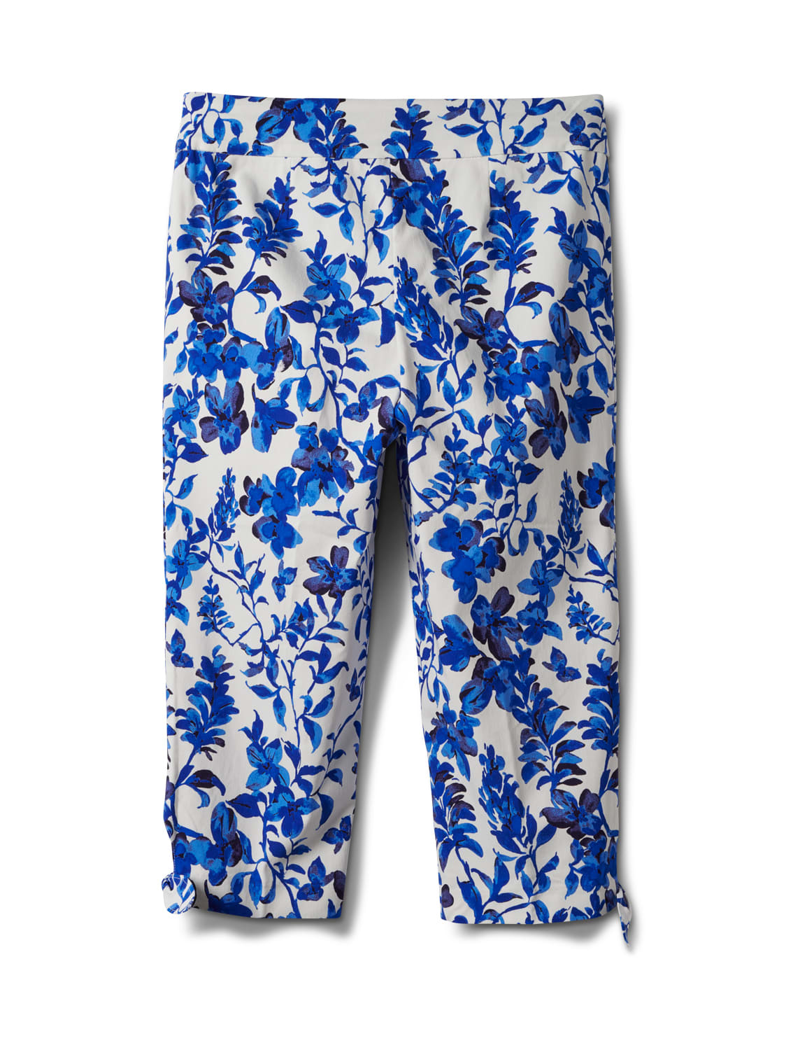 Printed Pull on Pants Tie Hem Capri - Blue Floral - Back