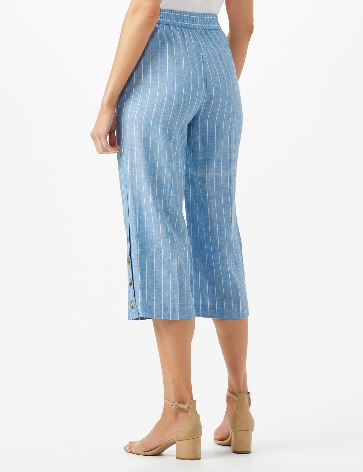 Striped Elastic Waist Crop With Button Detail on Leg - Blue/White - Back