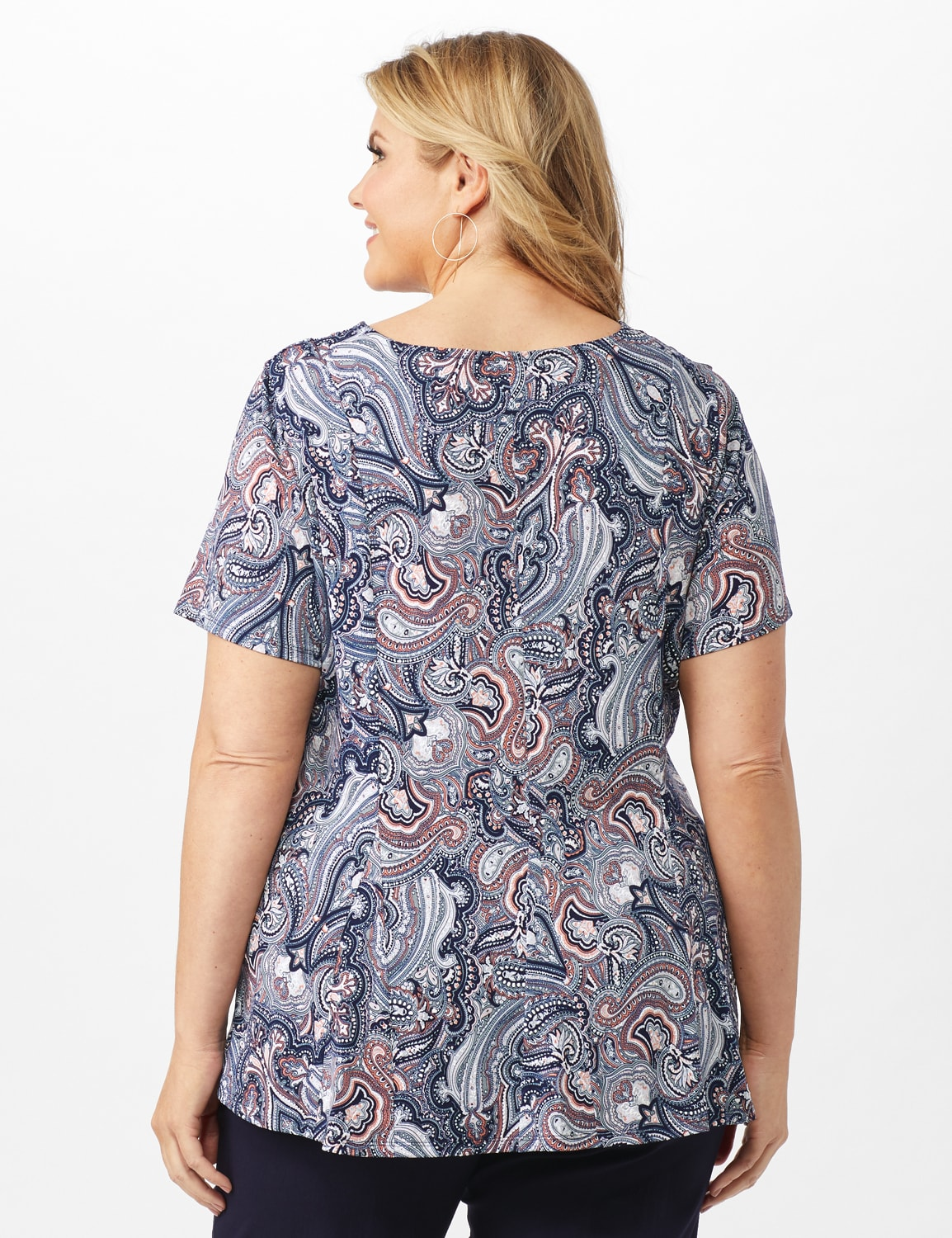 Puff Print Fit and Flare Knit Top - Plus - Navy - Back