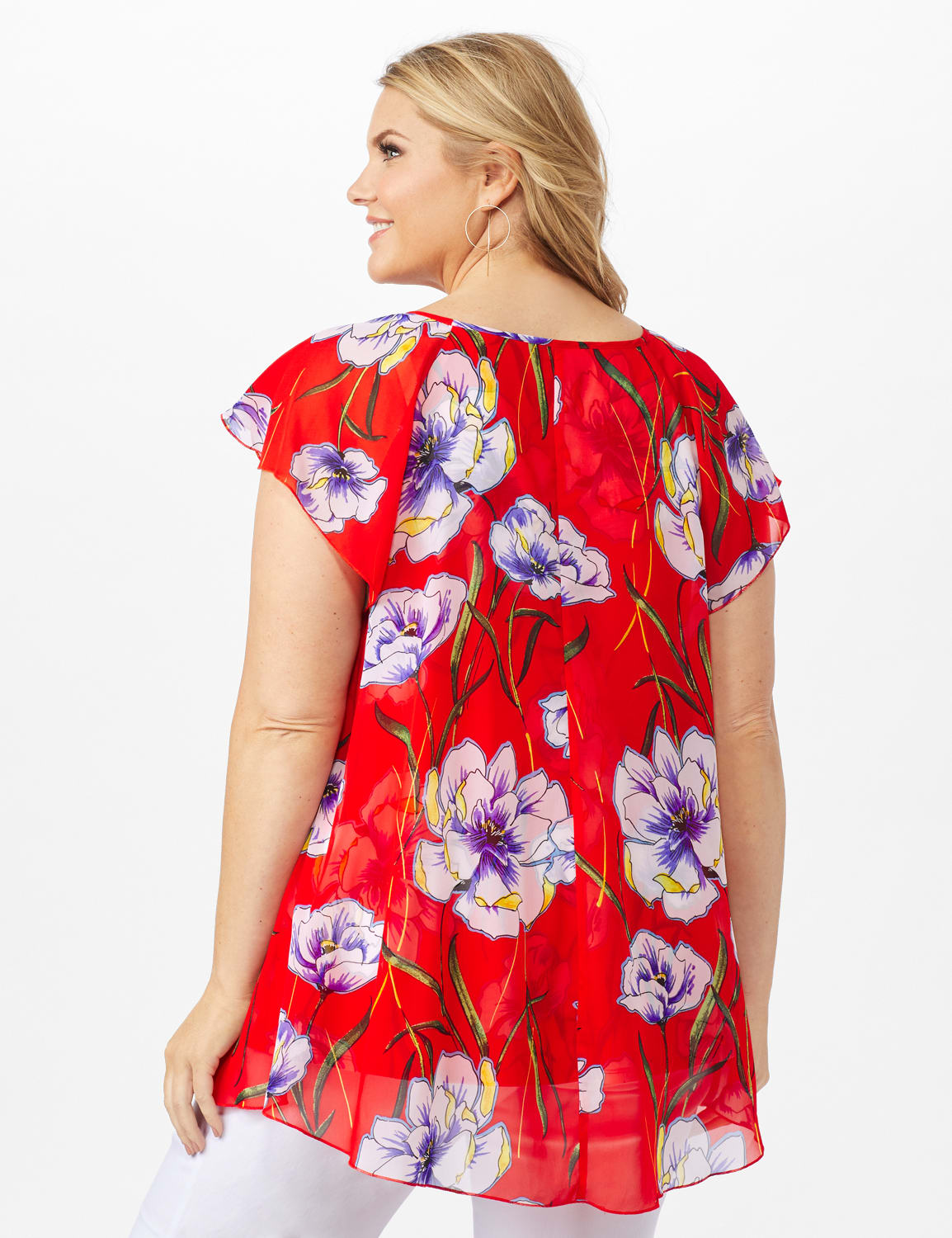 Floral Fly Away Top - Red - Back