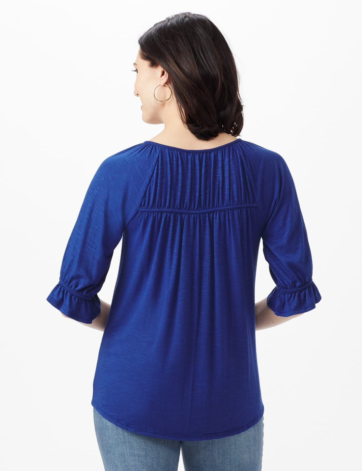 Ruffle Trim Peasant Knit Top - Misses - Blue - Back