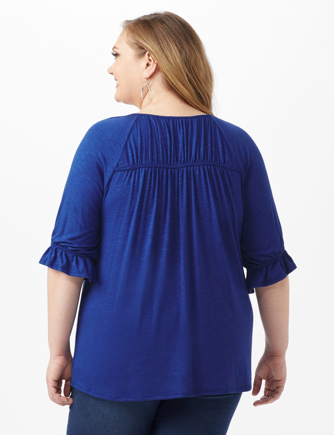 Ruffle Trim Peasant Knit Top - Plus - Blue - Back