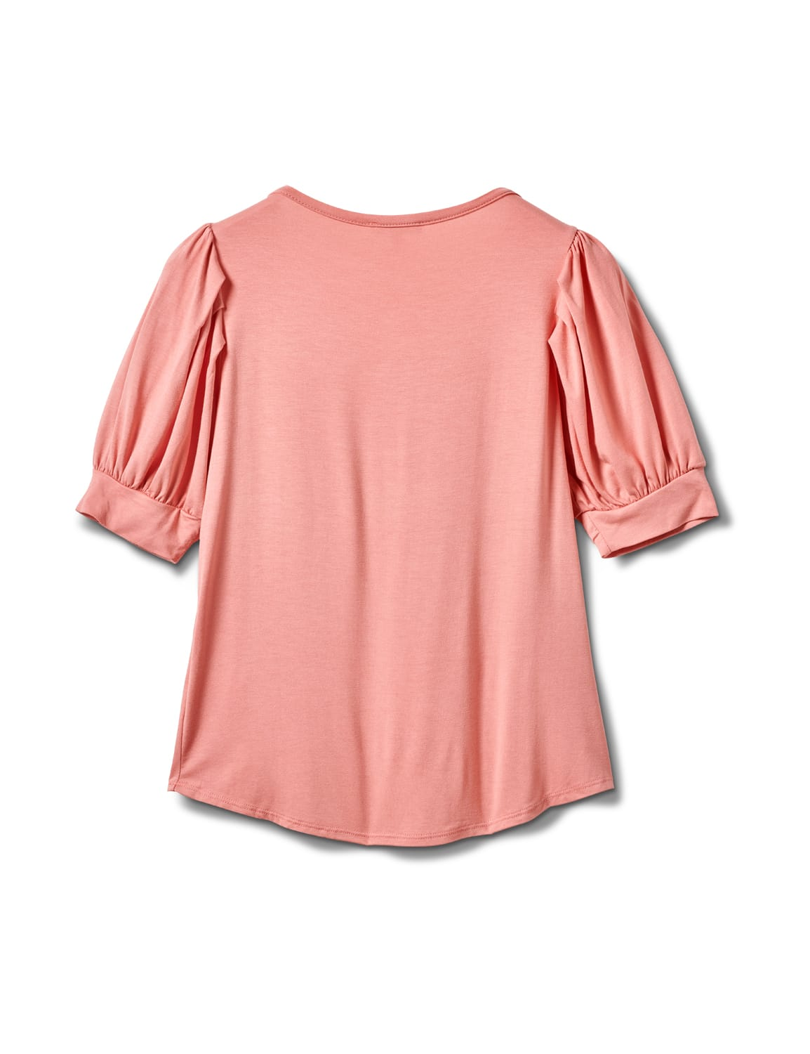 Scoop  Puff Sleeve Knit Top - Dusty Pink - Back