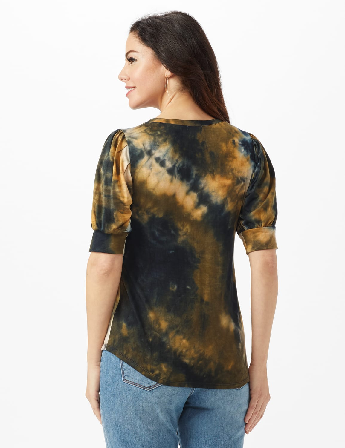 Tie Dye Puff Sleeve Knit Top - Misses - Taupe - Back