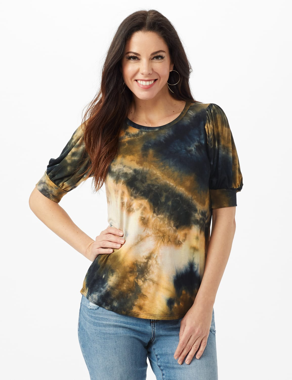 Tie Dye Puff Sleeve Knit Top - Misses - Taupe - Front