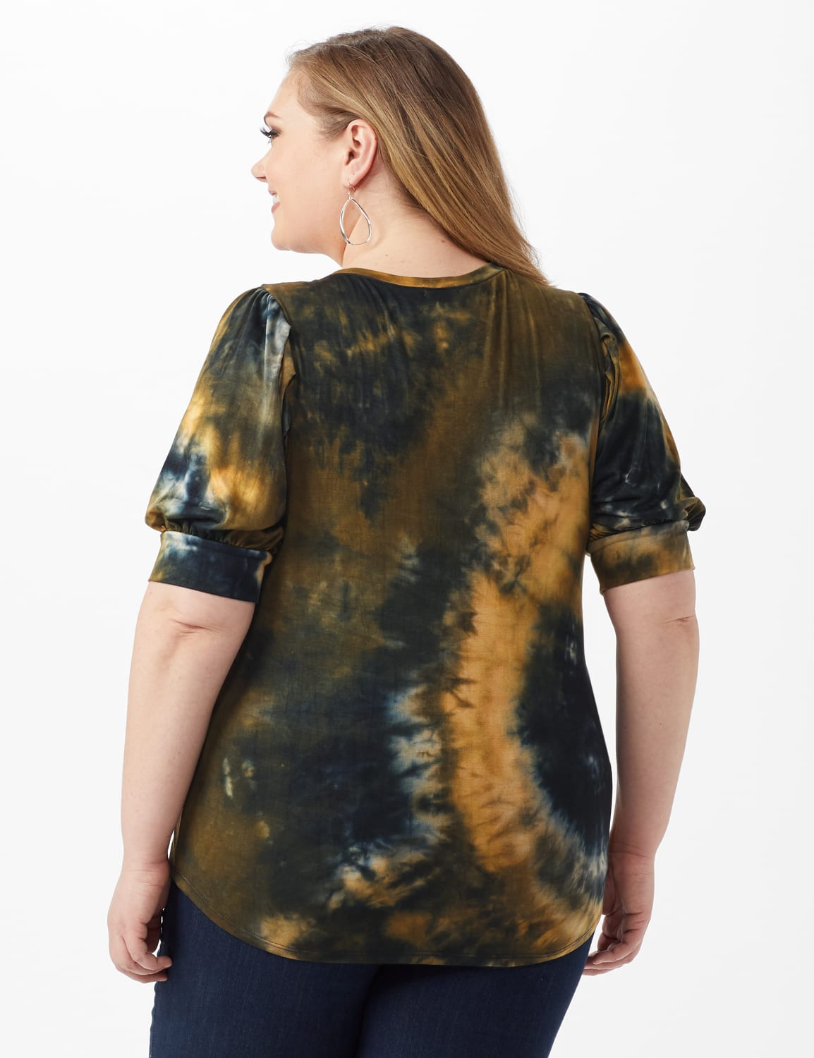 Tie Dye Puff Sleeve Knit Top - Plus - Taupe - Back