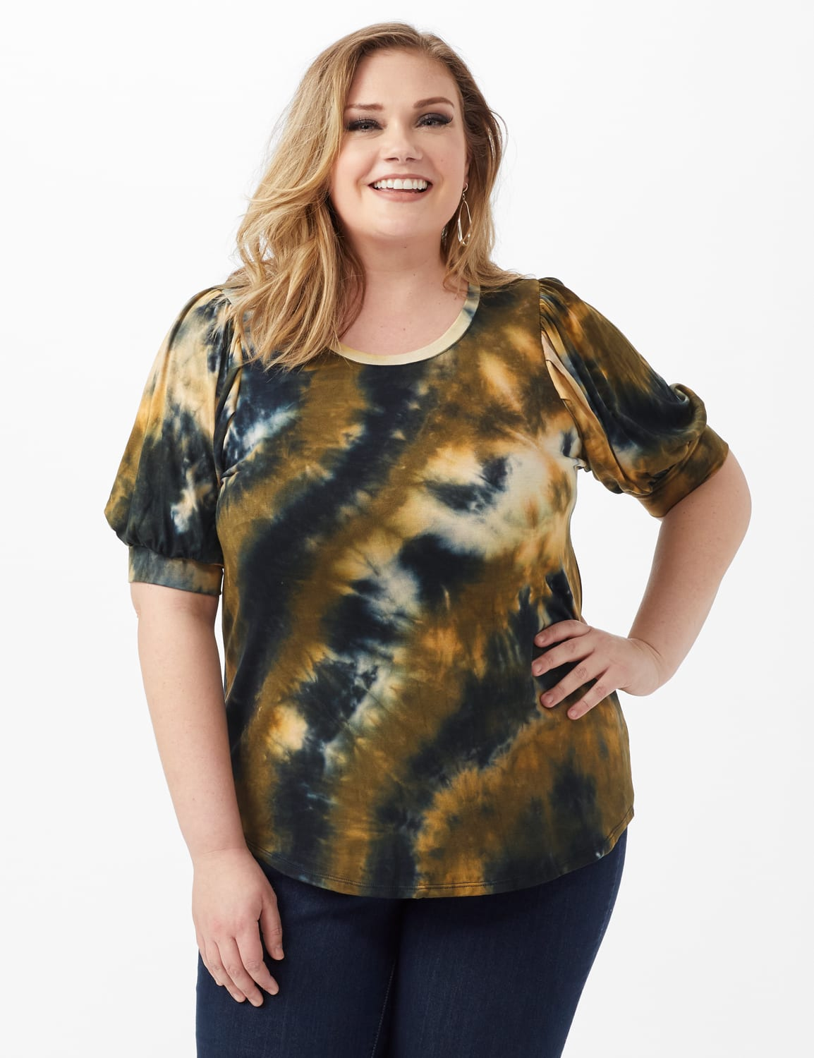 Tie Dye Puff Sleeve Knit Top - Plus - Taupe - Front