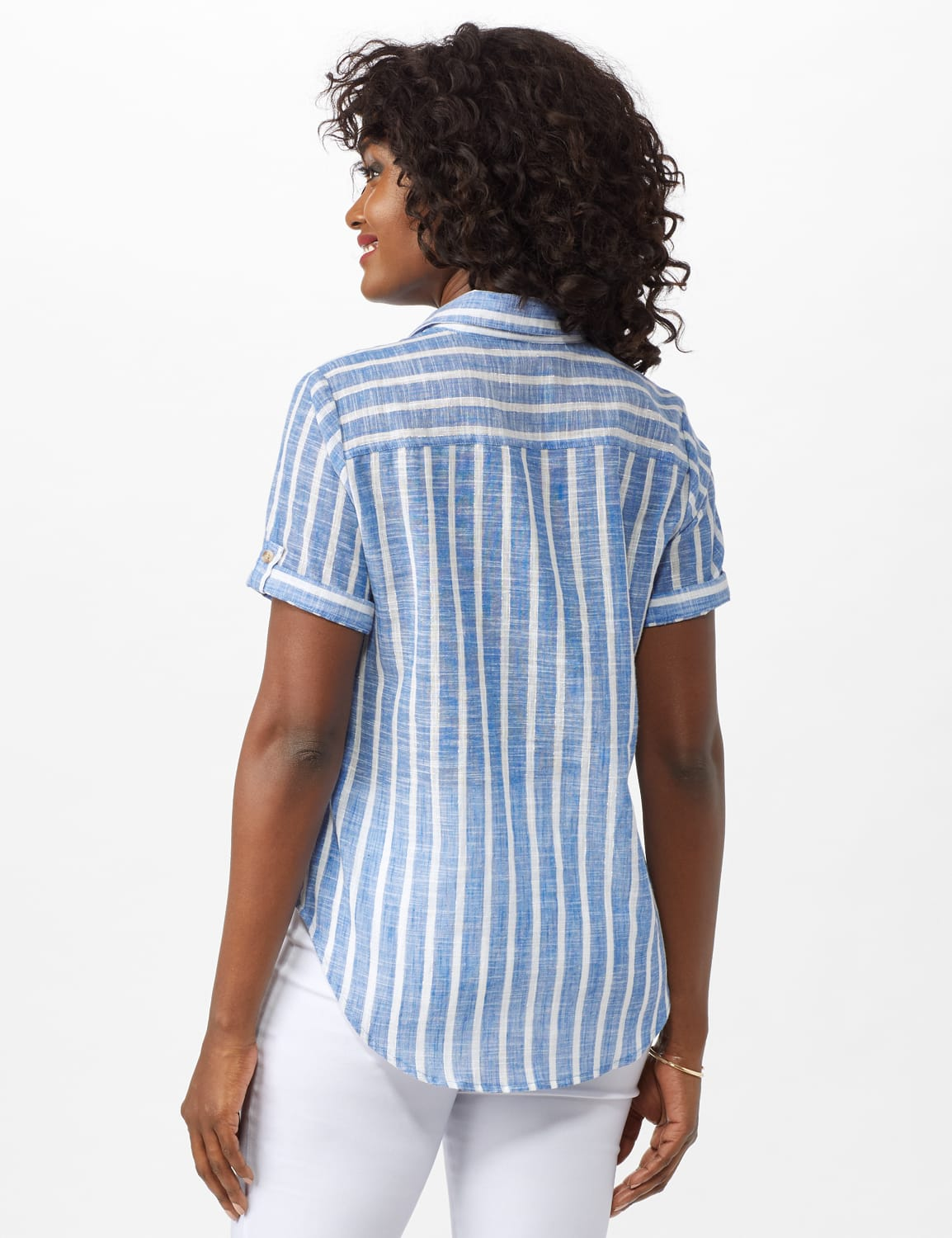 Dressbarn Lurex Stripe 1 Pocket Shirt - Misses - Blue - Back