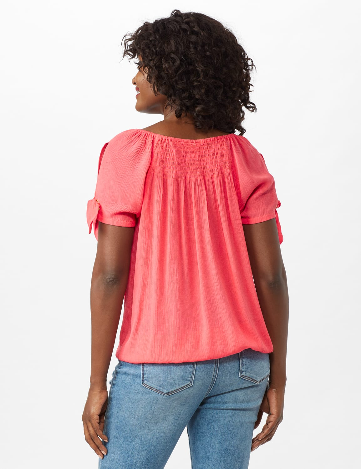 Smocked Peasant Grommet Tie Sleeve Top - Misses - Calypso Coral - Back