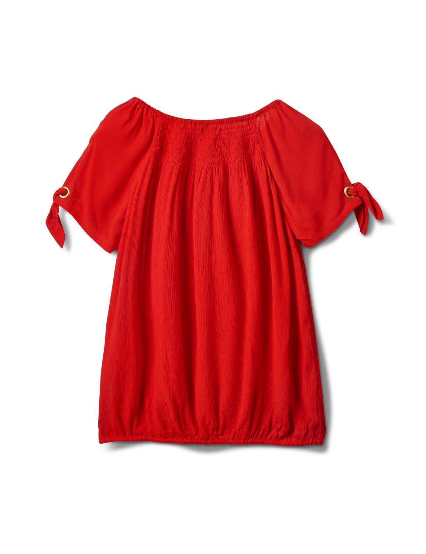 Smocked Peasant Grommet Tie Sleeve Top - Misses - Red - Back