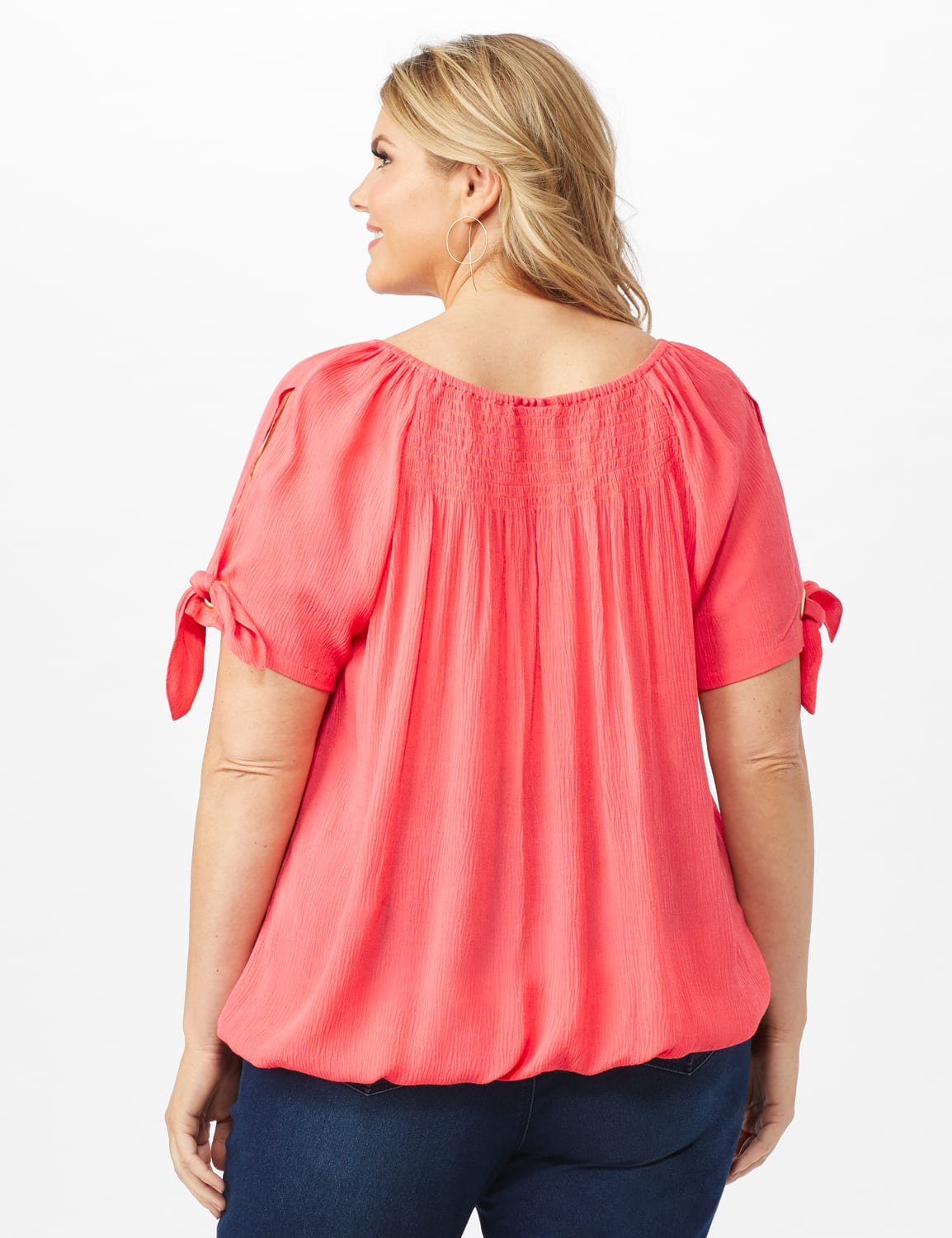 Smocked Peasant Grommet Tie Sleeve Top - Plus - Calypso Coral - Back