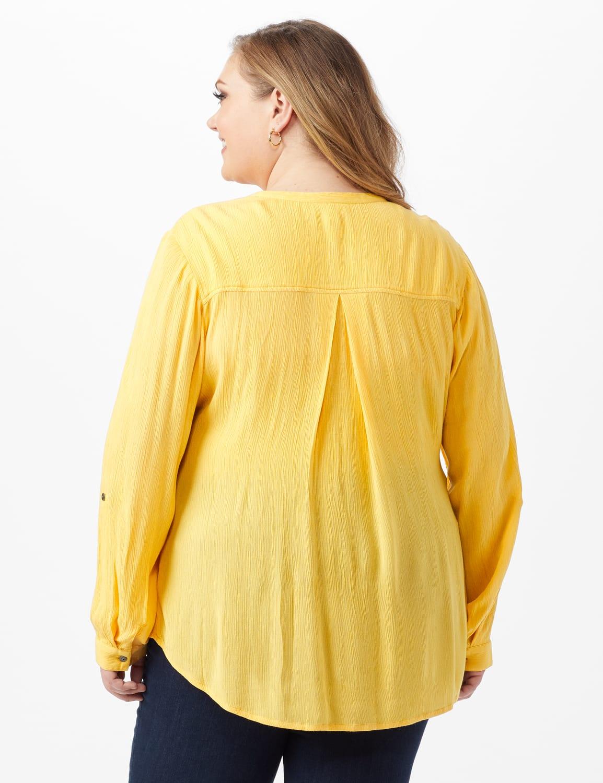 Dressbarn Crinkle Pintuck Popover - Golden Creme - Back