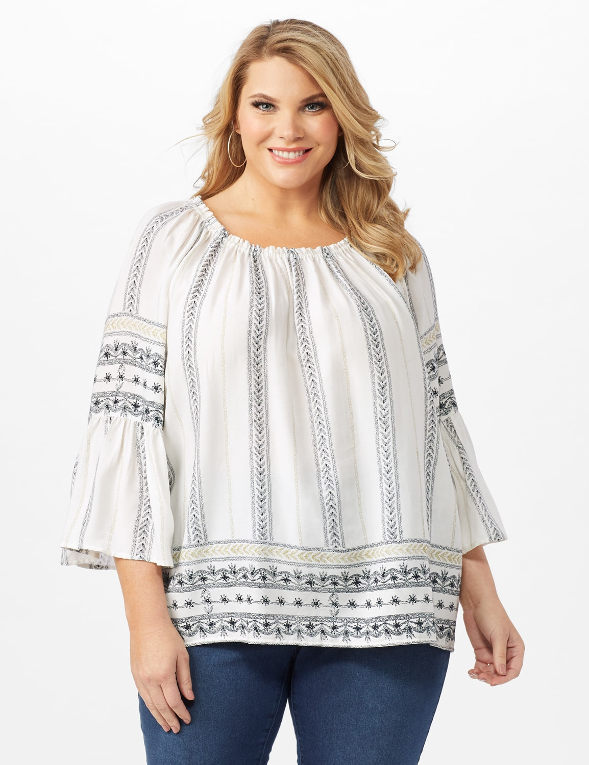 Westport Bell Sleeve Border Tunic - Plus - Ivory - Front
