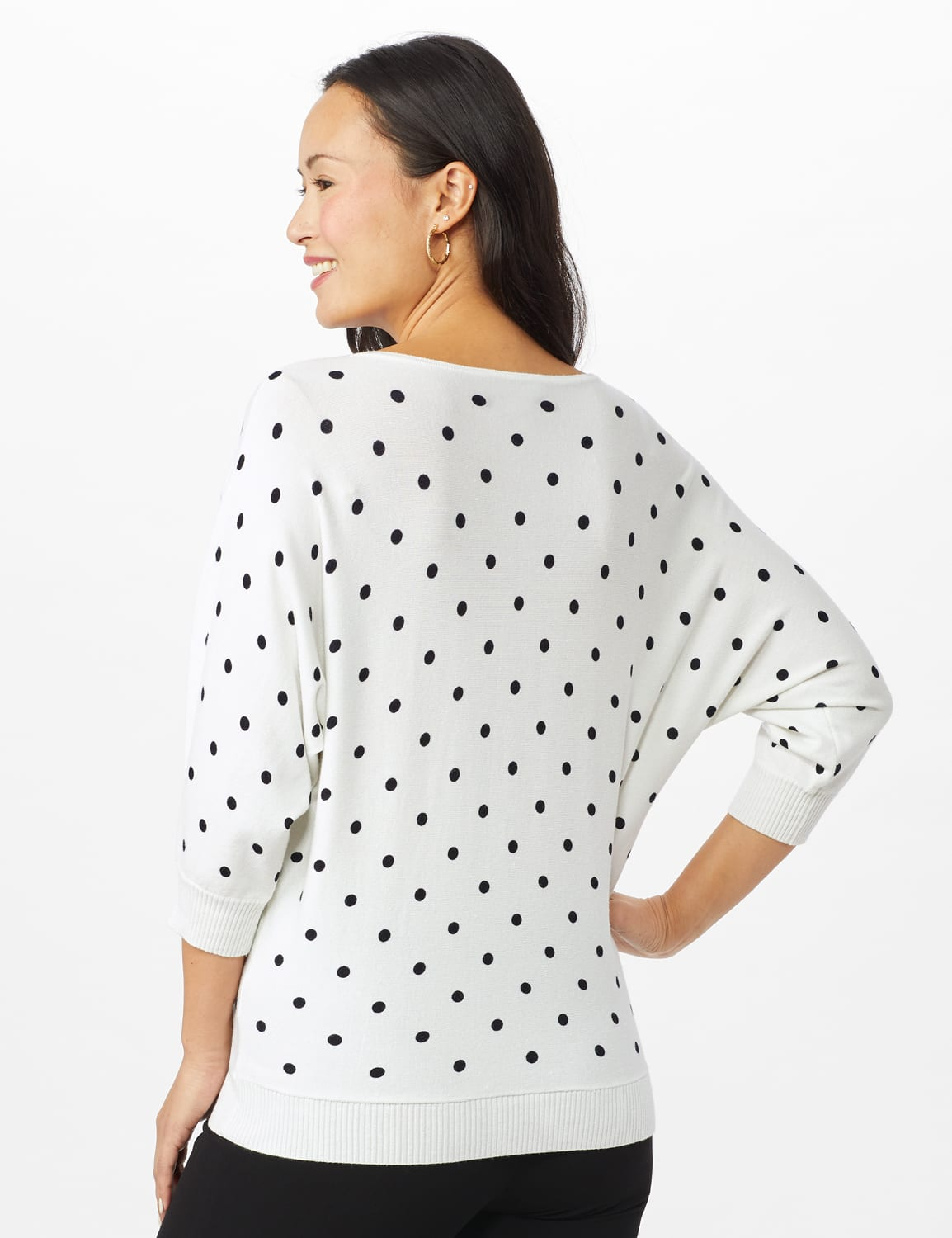 Dot Sweater - White/ Veranda/ Nightlife - Back