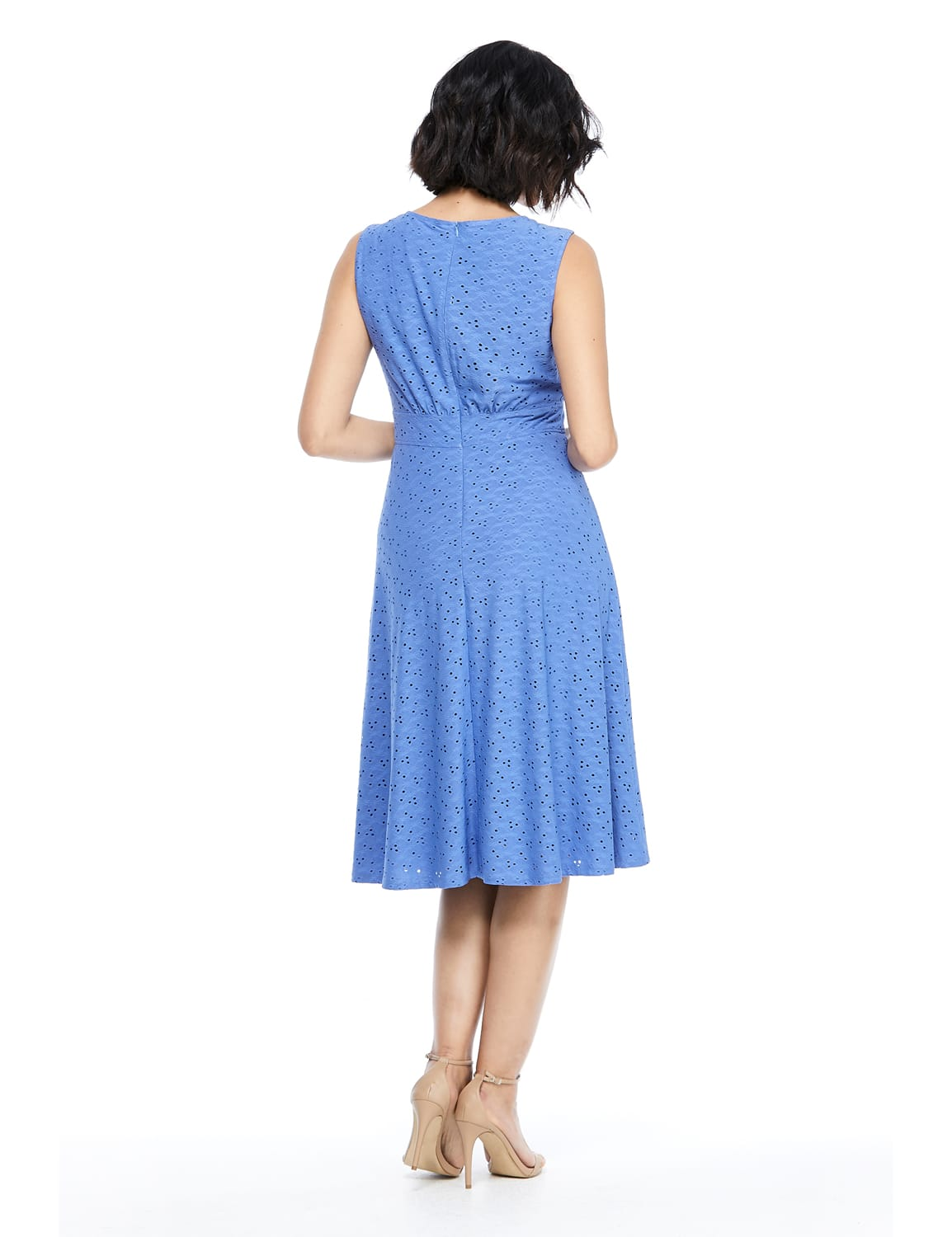Sleeveless Eyelet Jersey Midi Dress - Cobalt - Back