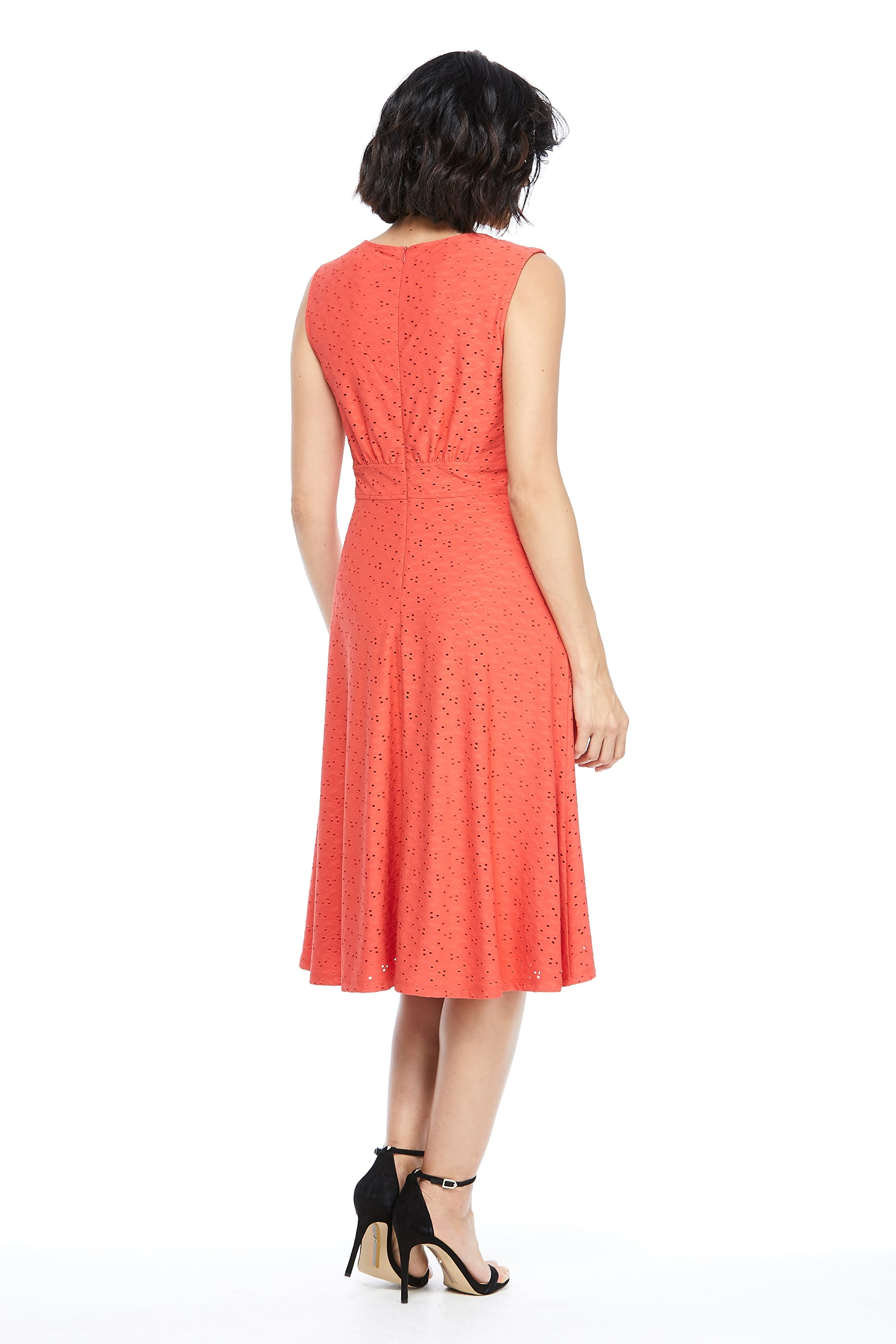 Sleeveless Eyelet Jersey Midi Dress - Coral - Back