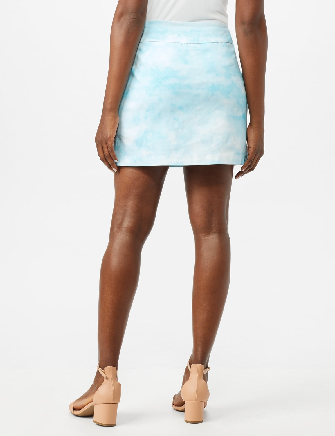 Pull On Tie Dye Skorts with Pockets - Azurine/White - Back