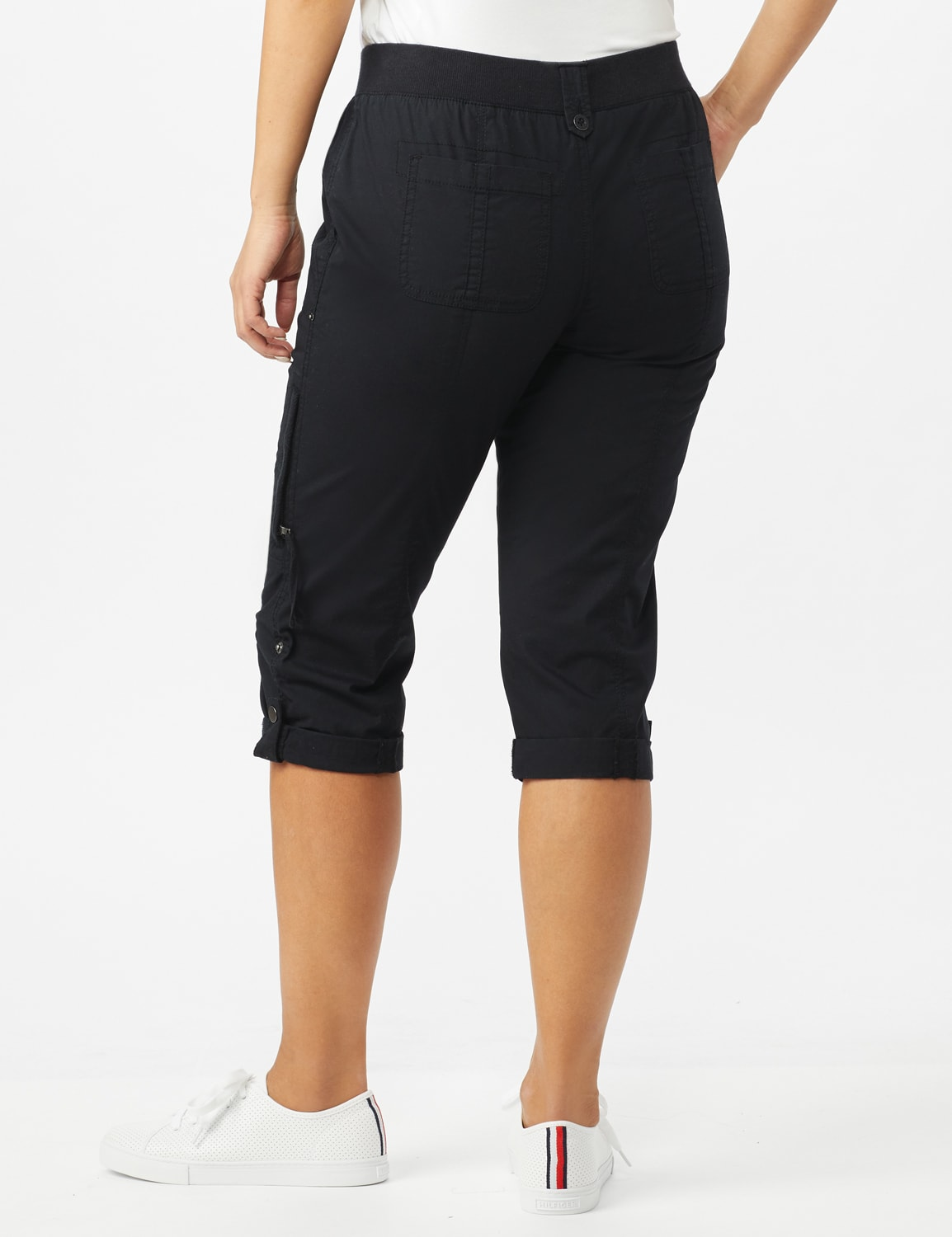 Utility Knit Waist Pull on Capri Pants - Ebony Black - Back