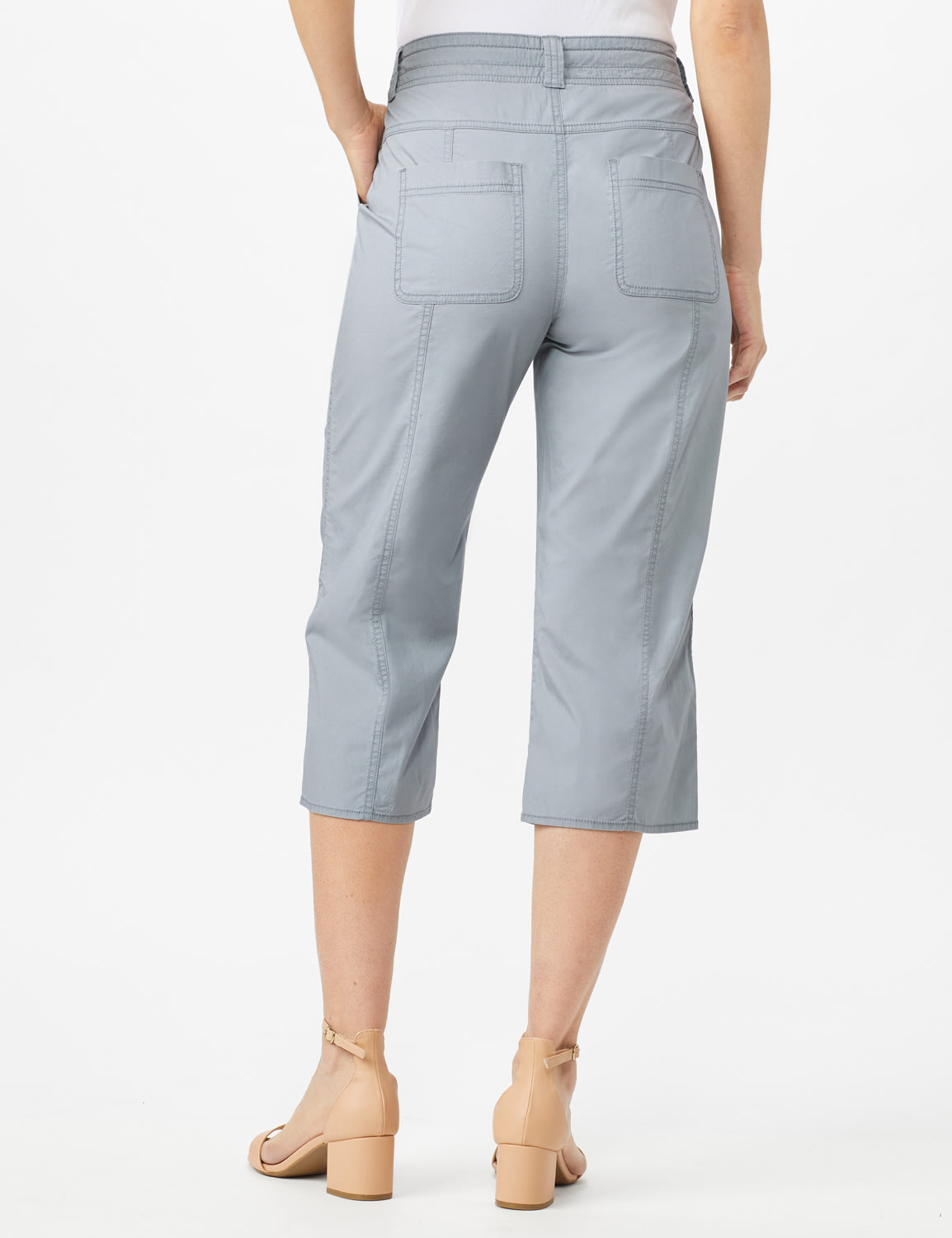 Utility Capri Pants with Drawstring Waist - Shy Grey - Back