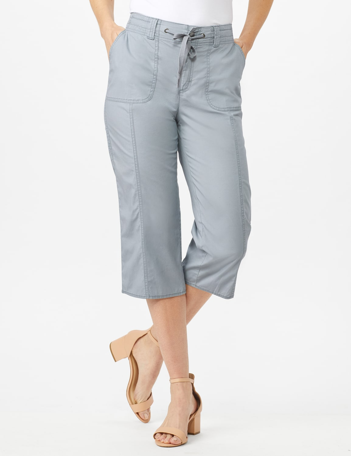 Utility Capri Pants with Drawstring Waist - Shy Grey - Front