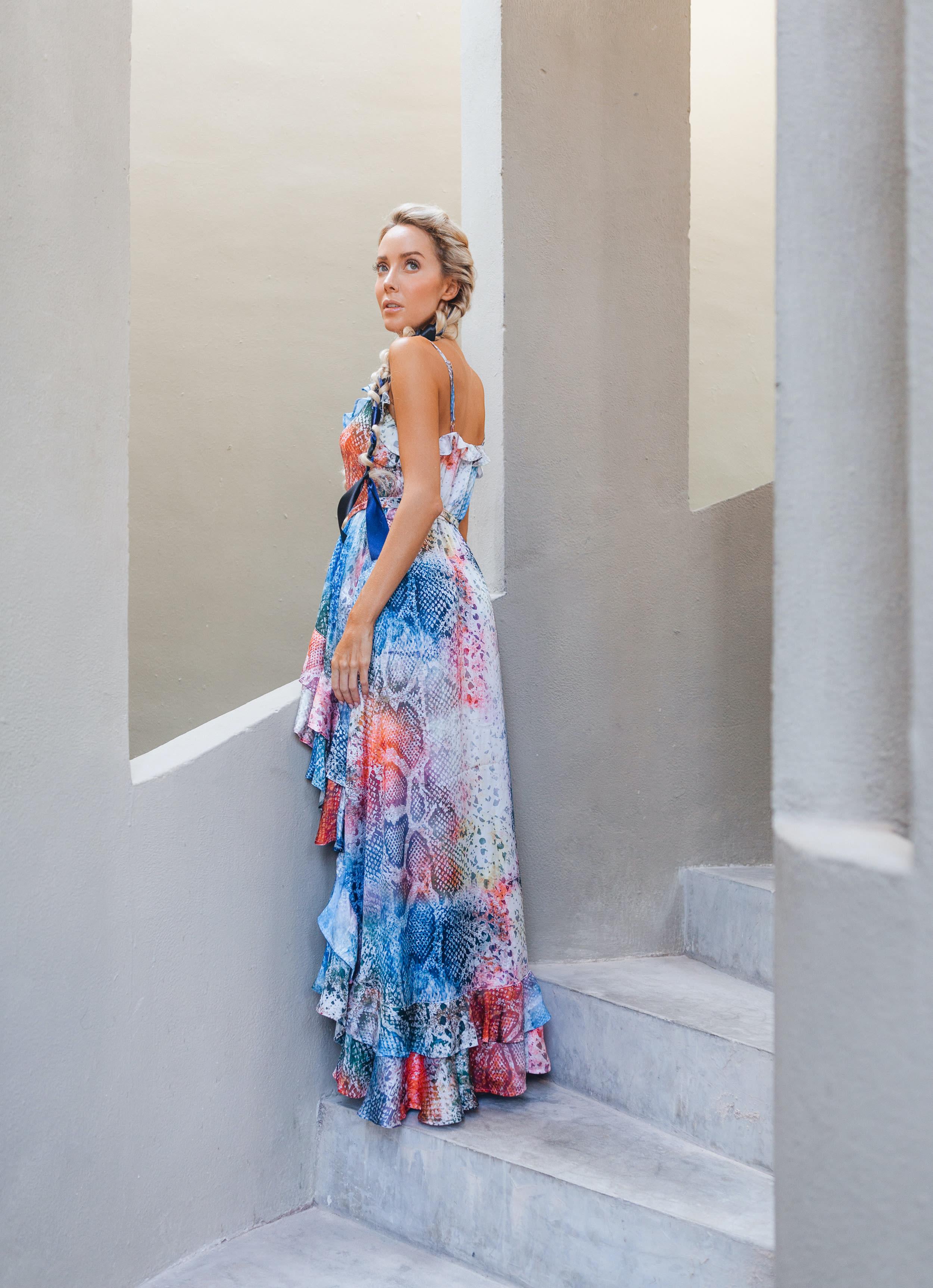 Juliette Rainbow Snakeskin Dress - Rainbow - Back