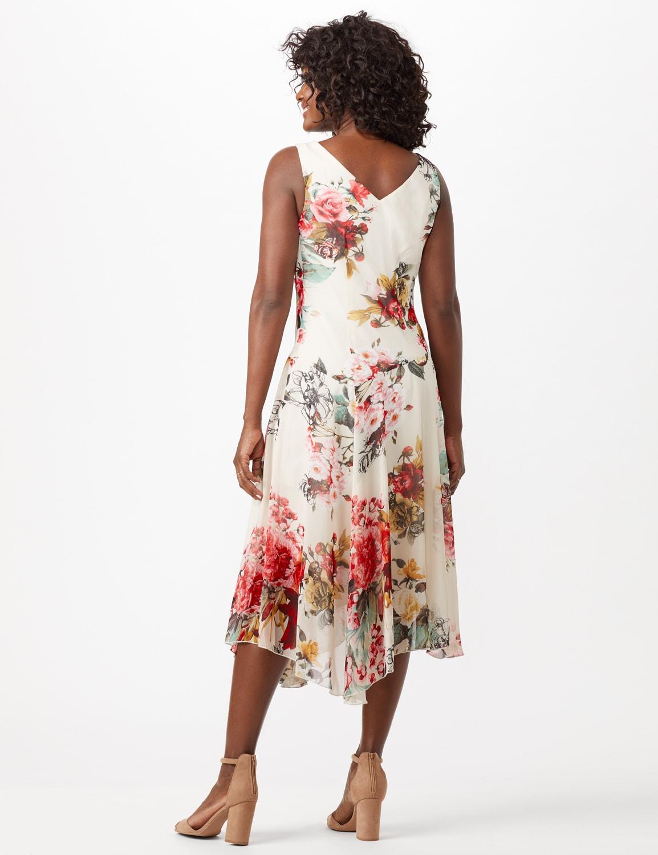 Sleeveless Empire Waist Floral Chiffon Midi Dress - Light Blue - Back