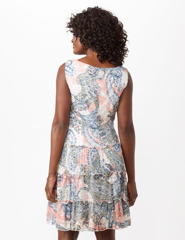 Sleeveless Printed Paisley Lace Tiered Dress - Salmon - Back