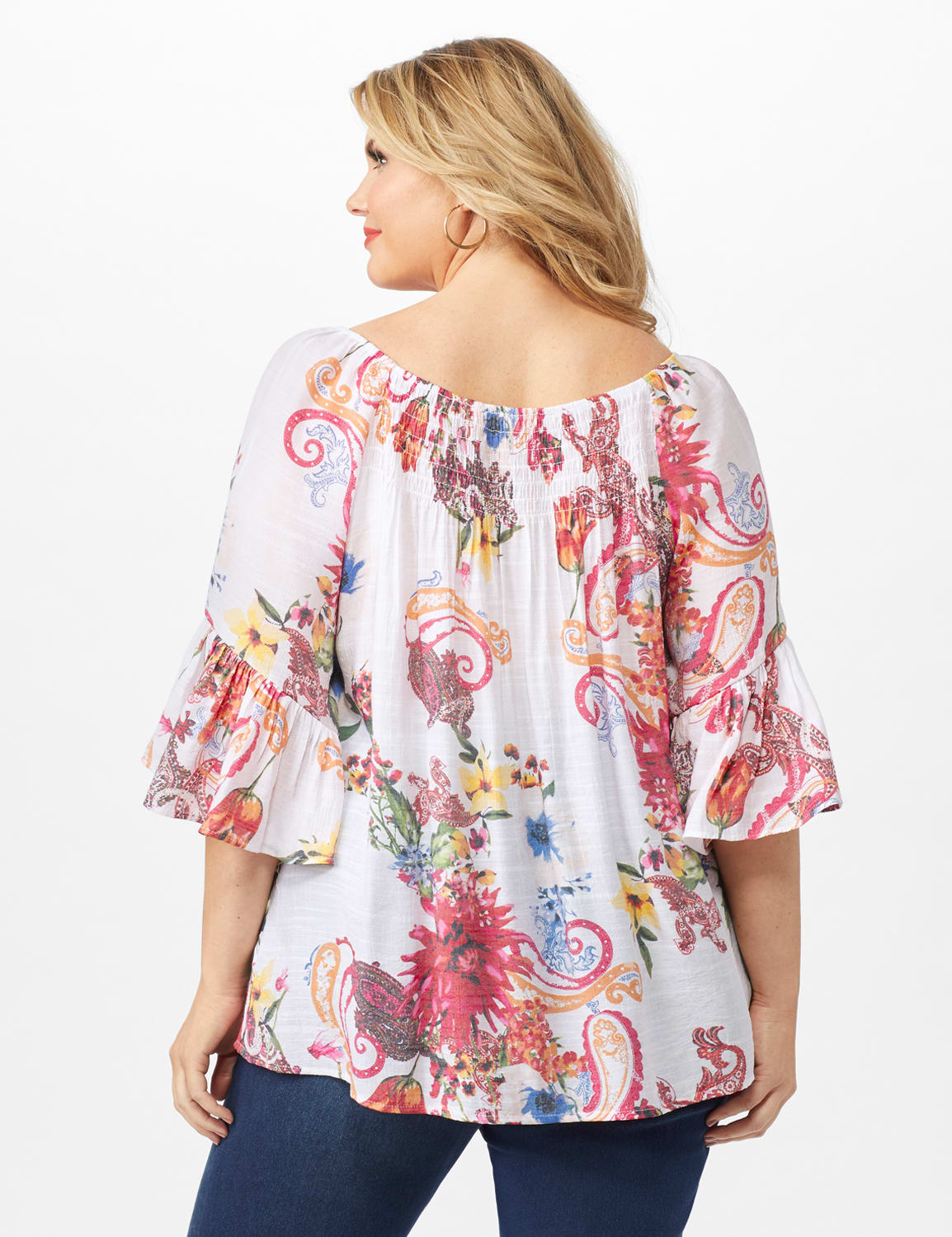 Textured Flounce Sleeve Floral/Paisley Top - Multi - Back