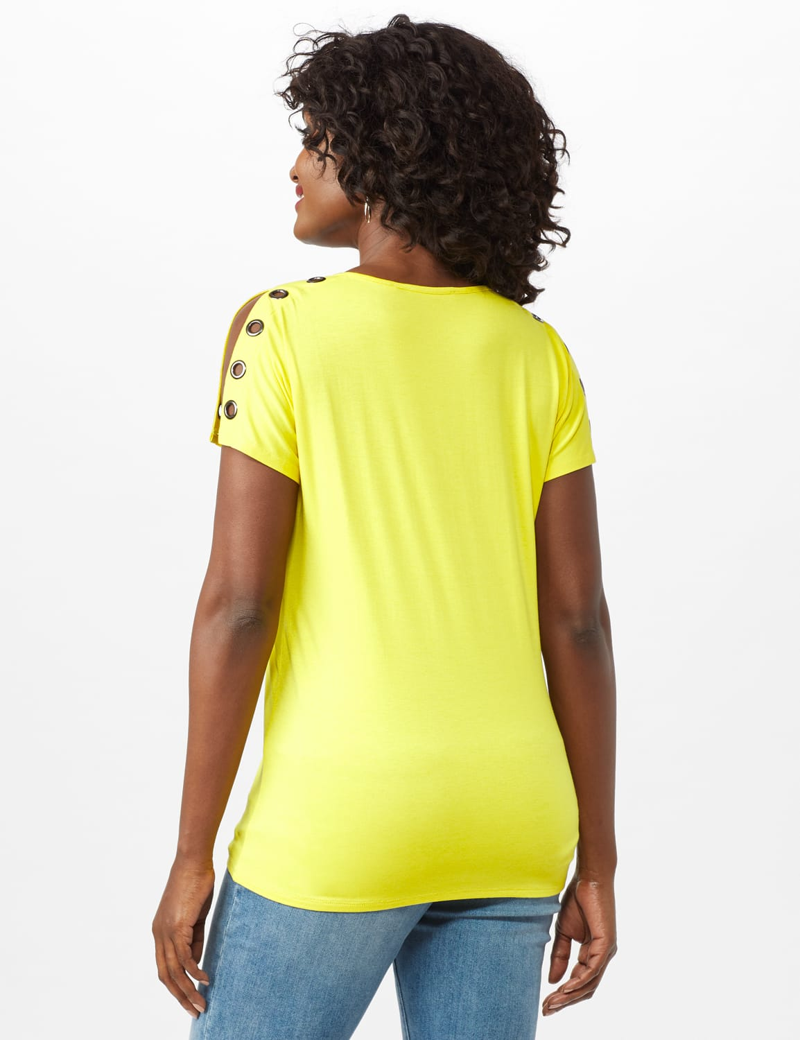 Grommet Trim Split Sleeve - Highlighter Yellow - Back
