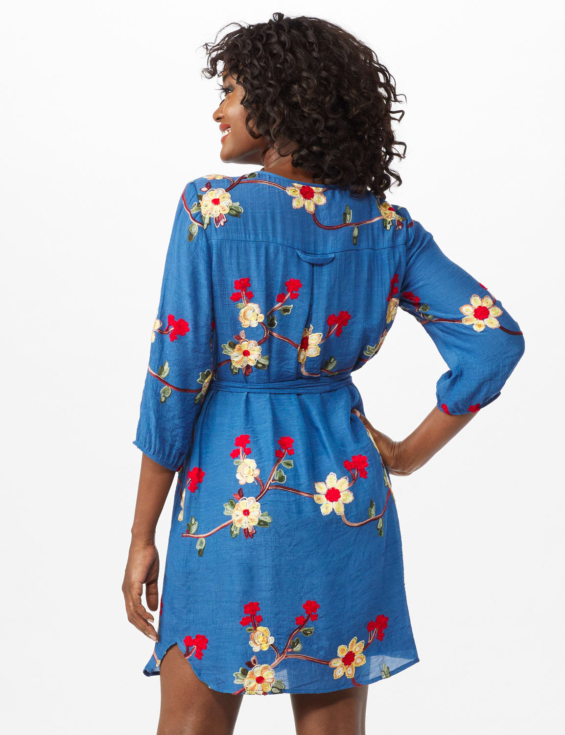 Scoop Neck With Embroidery Self Fabric Belted Dress - Chambray - Back