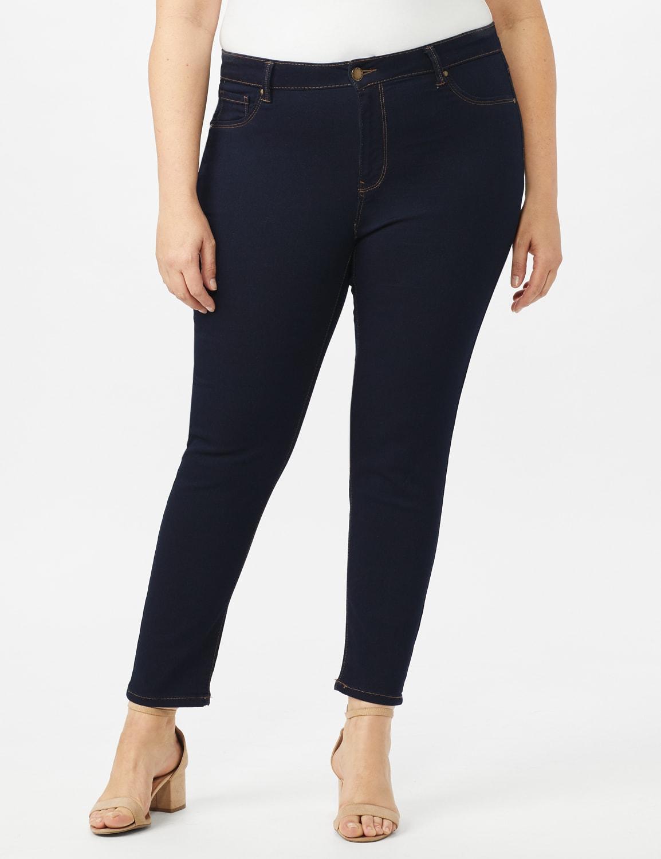 5 Pocket Skinny Ankle Length Jeans - Dark Wash - Front