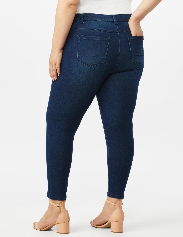 5 Pocket Skinny Ankle Length Jeans - Medium Wash - Back