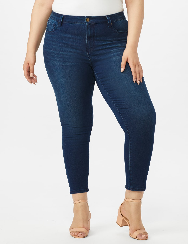 5 Pocket Skinny Ankle Length Jeans - Medium Wash - Front
