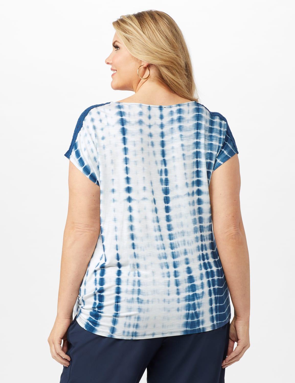 Side Tie Crochet Trim Tie Dye Top - Bijou Blue - Back