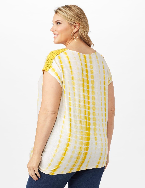 Side Tie Crochet Trim Tie Dye Top - Yolk Yellow - Back