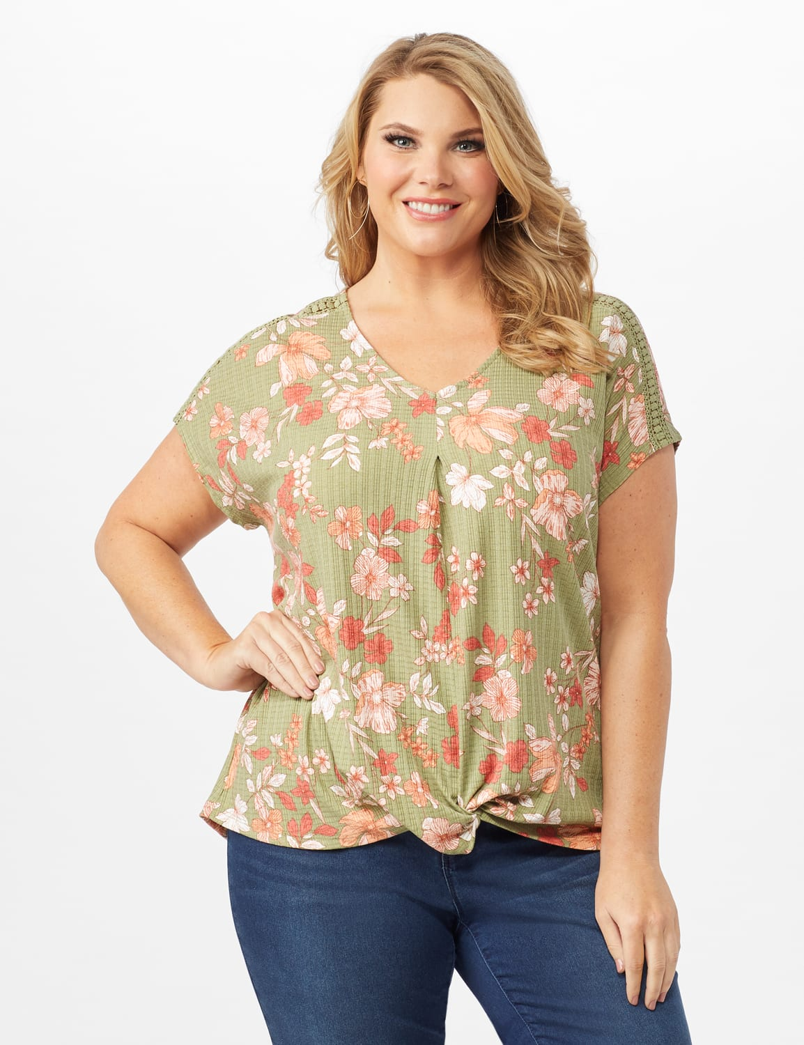 Twist Front Floral Knit Top - Oil Green - Front
