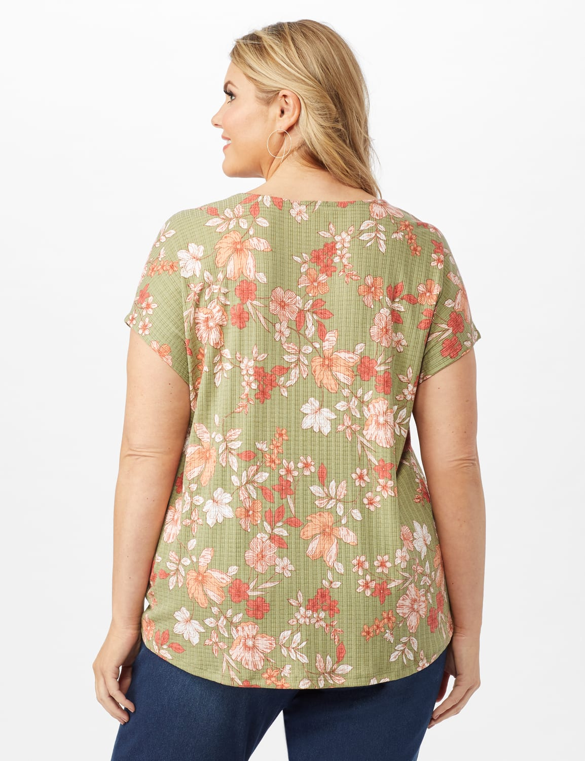 Twist Front Floral Knit Top - Oil Green - Back