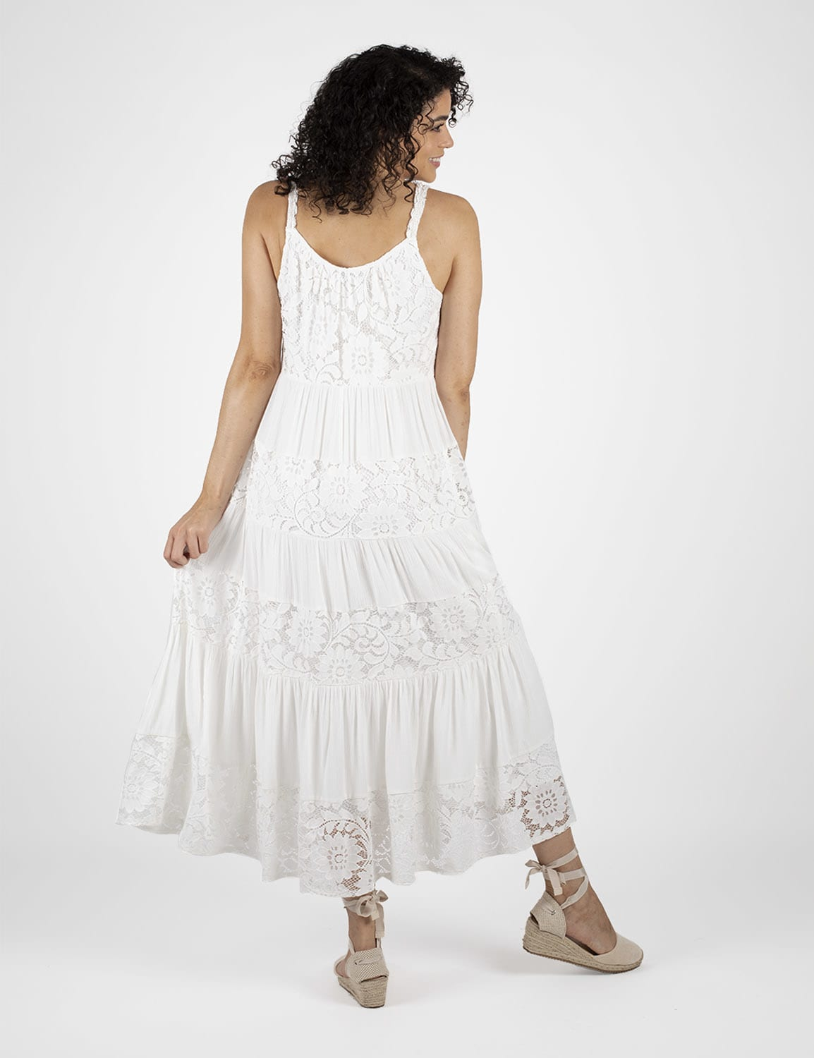 Mixed  Lace Tiered Midi Dress - White - Back
