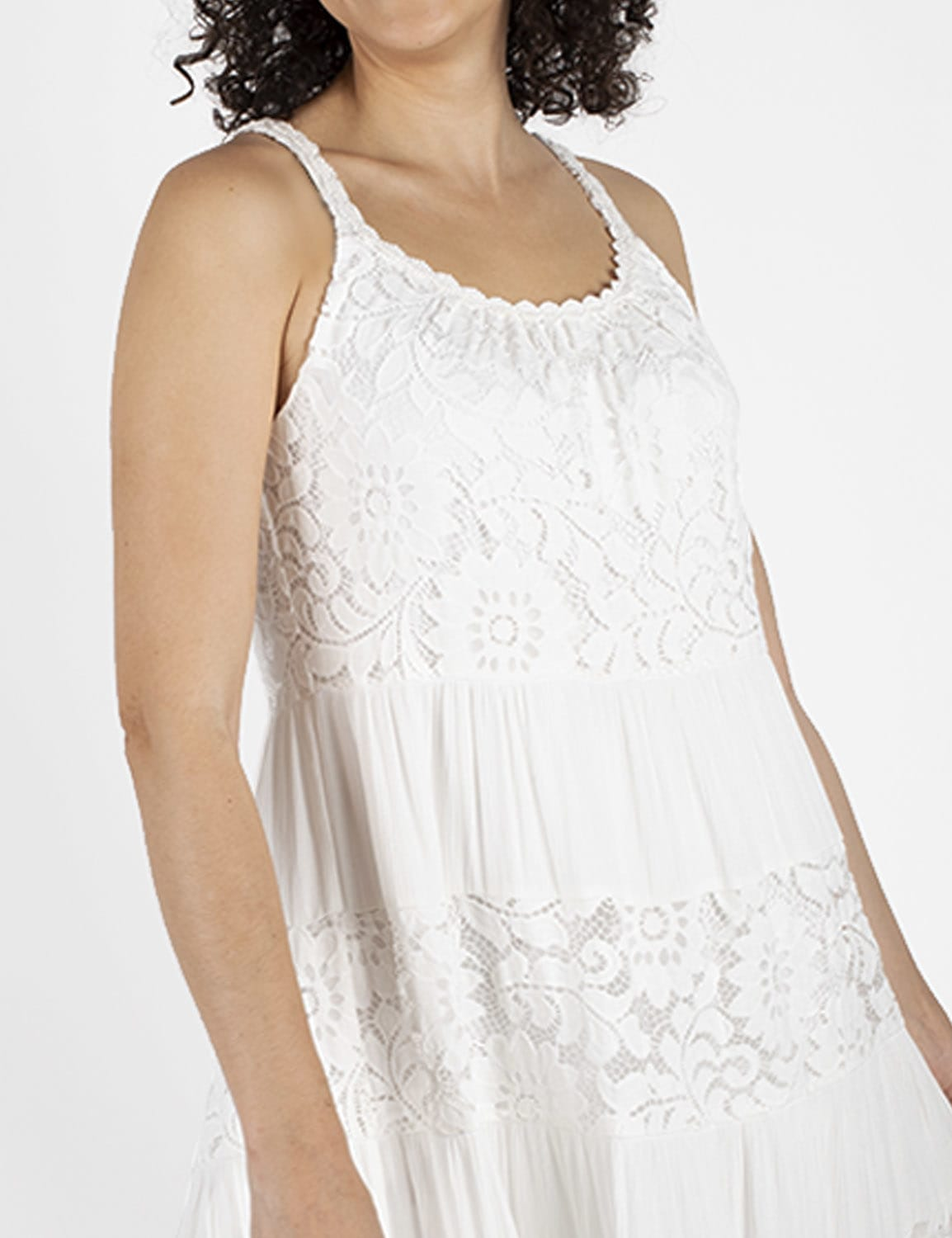 Mixed  Lace Tiered Midi Dress - White - Detail