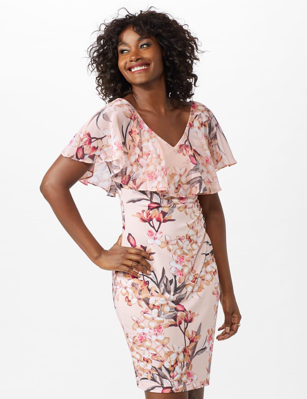 Chiffon Ruffle Neck Shirred Waist Blossom Floral Dress - Peach - Front