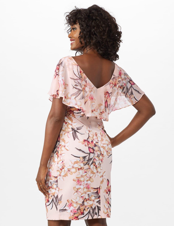 Chiffon Ruffle Neck Shirred Waist Blossom Floral Dress - Peach - Back
