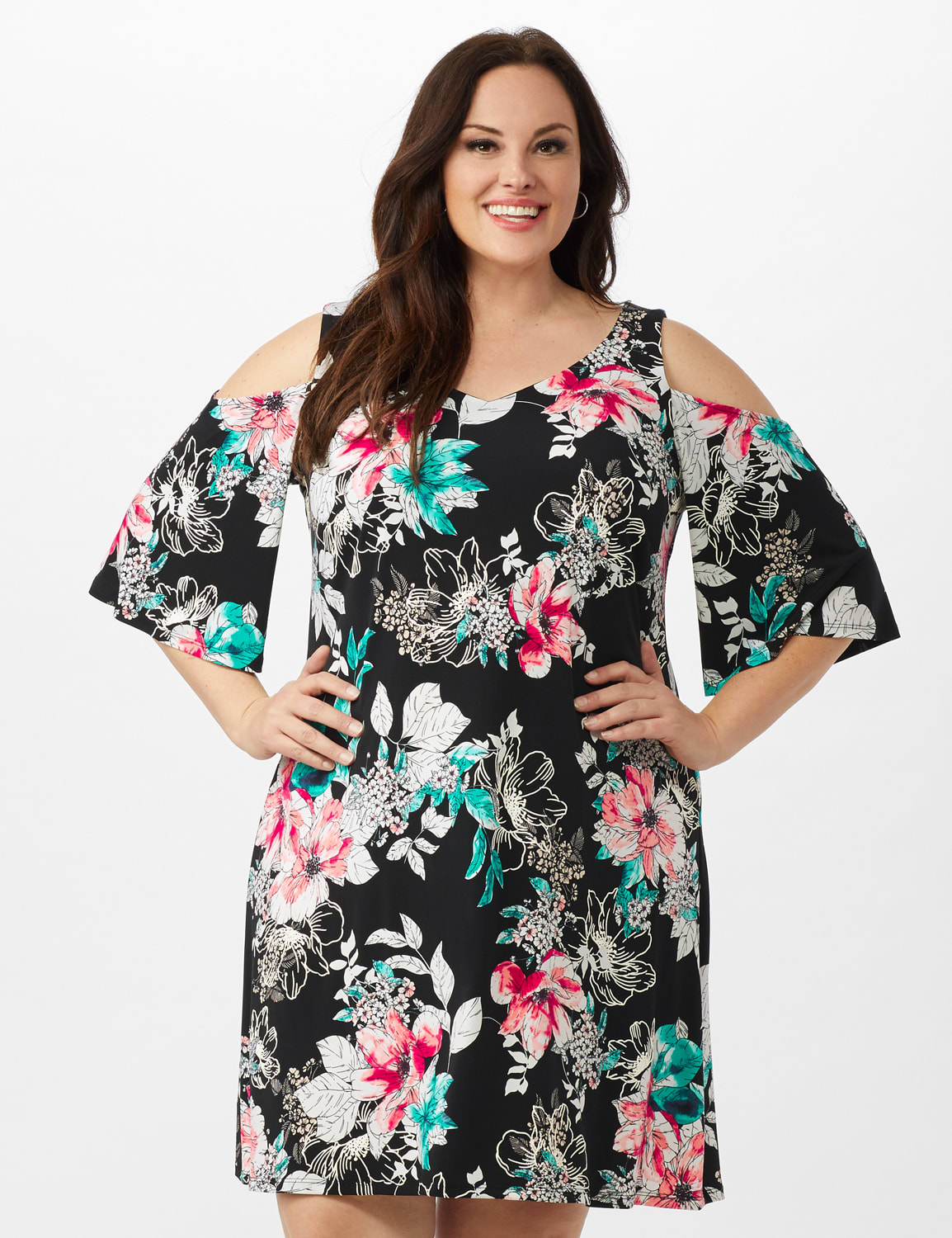 Cold Shoulder Elbow Sleeve Etched Floral Dress - Black - Front