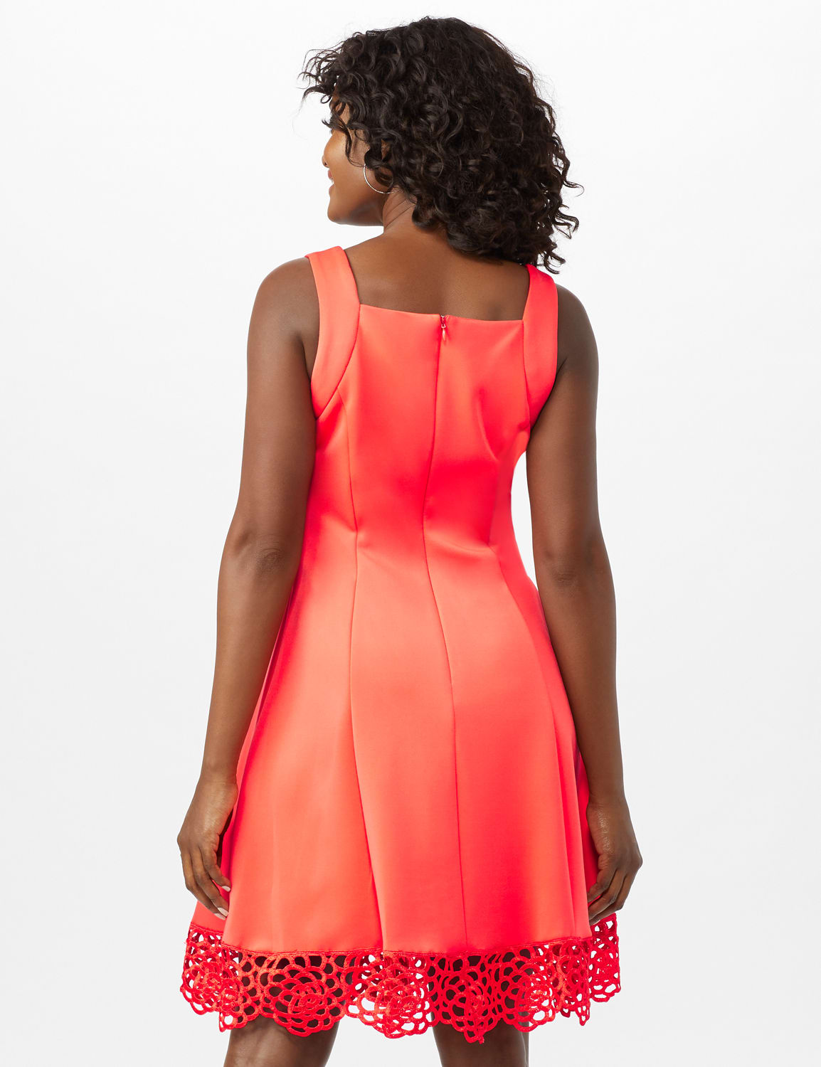 Fit and Flare Scuba Dress with Lace Trim Hem - Coral - Back