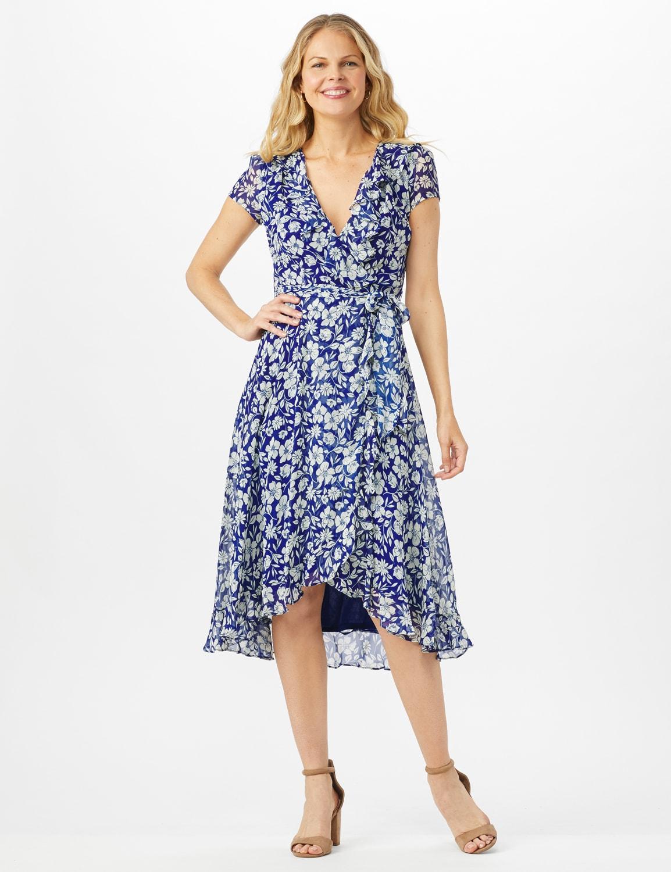 Floral Ruffle Neck Wrap Chiffon Dress - Blue Cream - Front