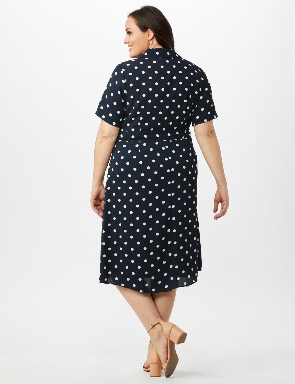 Short Sleeve Dot Shirt Dress with Self Belt - Navy/Ivory - Back