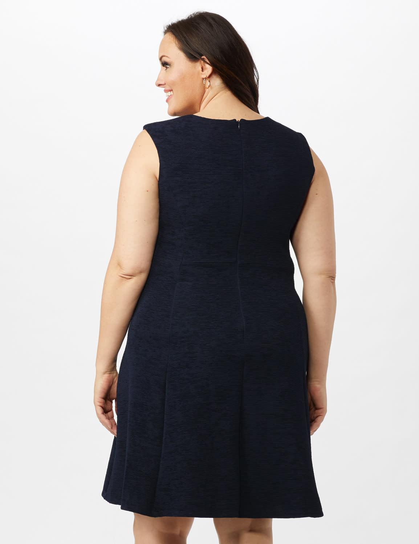Sleeveless Textured Knit Key Hole Neck with Ring Dress - Navy - Back